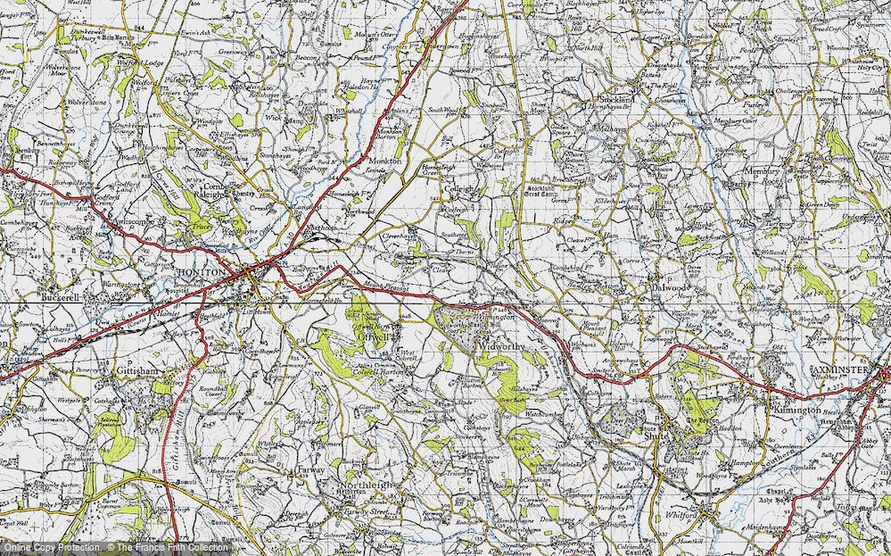 Old Map of Historic Map covering Wylmington Hayes in 1946