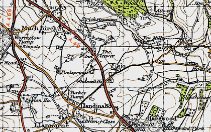 Old map of Whitewell Ho in 1947