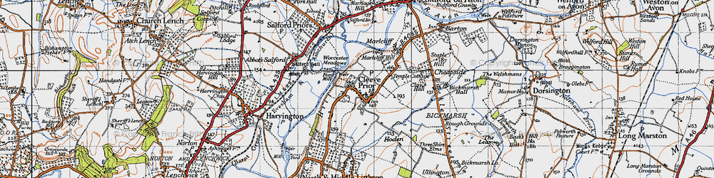 Old map of Cleeve Prior in 1946