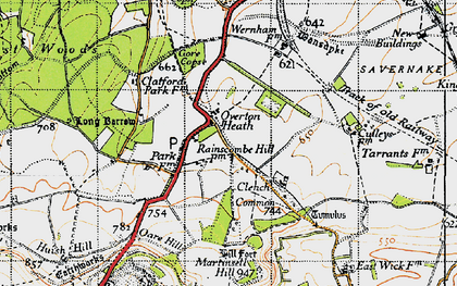 Old map of Clench Common in 1940