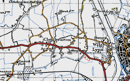 Old map of Clenchwarton in 1946