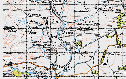 Old map of Allerhope Burn in 1947