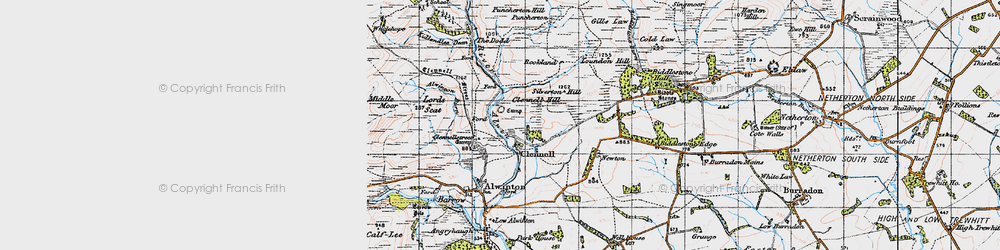 Old map of Wholehope in 1947