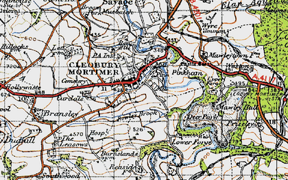 Old map of Cleobury Mortimer in 1947