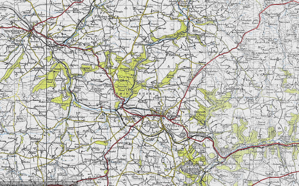 Old Map of Historic Map covering Whitley in 1946