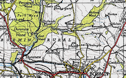 Old map of Whitley in 1946