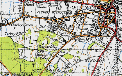 Old map of Clewer Green in 1945