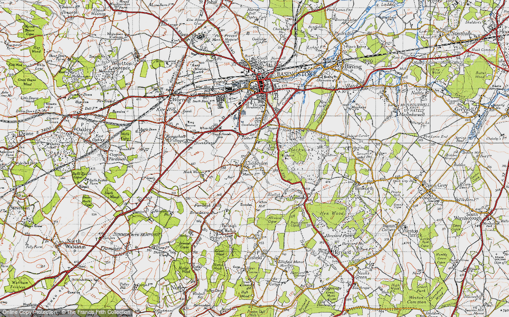 Old Map of Historic Map covering Audleys Wood in 1945