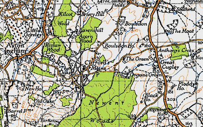 Old map of Woodgate in 1947