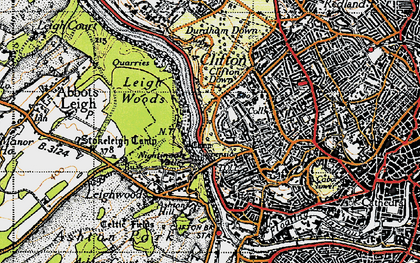 Old map of Avon Gorge in 1946
