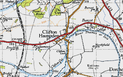 Old map of Clifton Hampden in 1947