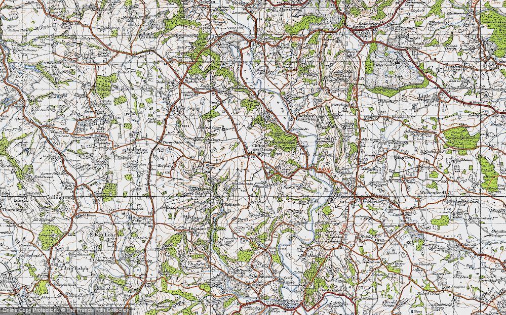 Old Map of Clifton upon Teme, 1947 in 1947