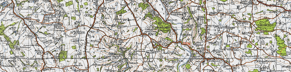 Old map of Clifton upon Teme in 1947