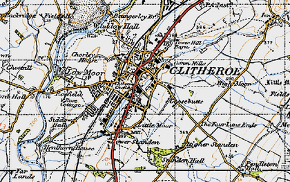 Old map of Clitheroe in 1947