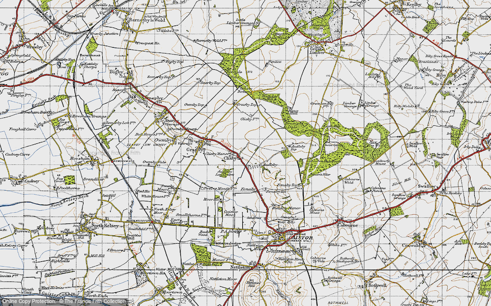 Old Map of Historic Map covering Audleby Low Covert in 1946