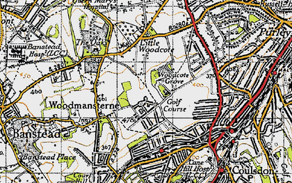 Old map of Woodcote Grove Ho in 1945
