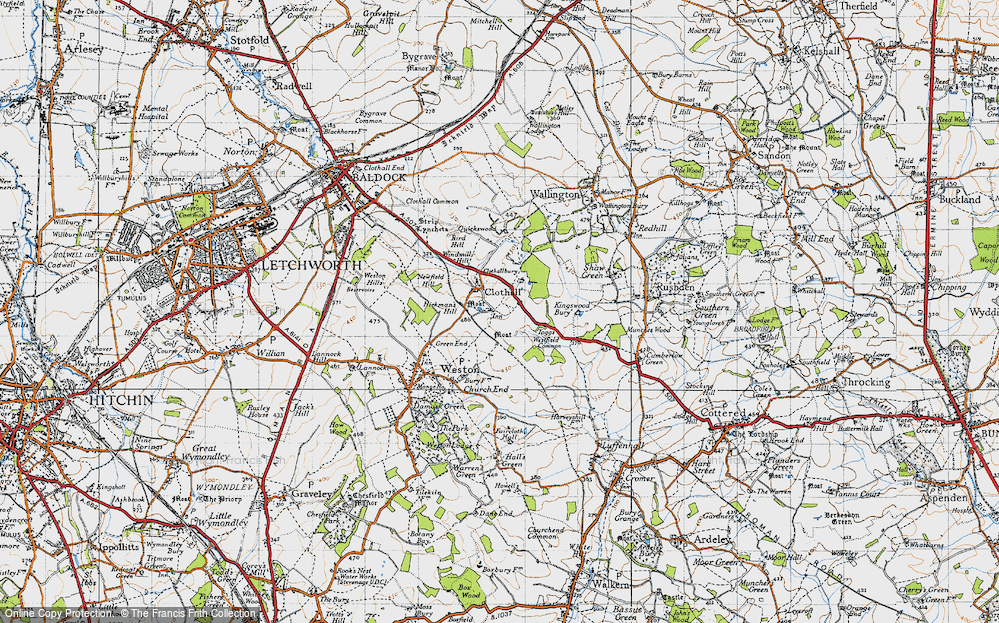 Old Map of Historic Map covering Toggs in 1946