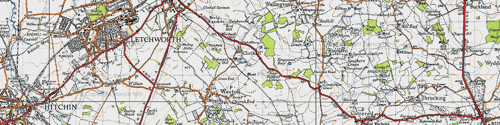 Old map of Westfield Common in 1946