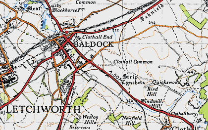 Old map of Clothall Common in 1946