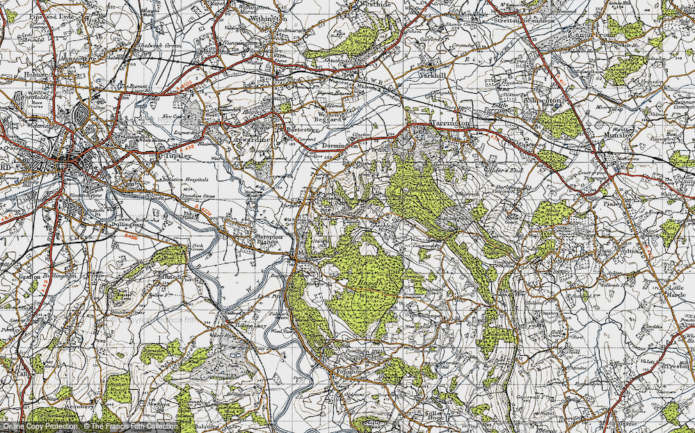 Old Map of Historic Map covering Backbury Hill in 1947