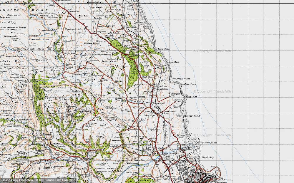 Old Map of Historic Map covering Lindhead Beck in 1947