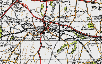 Old map of Clowne in 1947