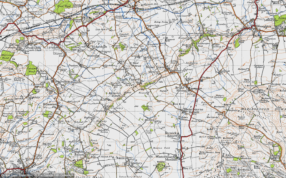 Old Map of Historic Map covering Woodhill Park in 1947