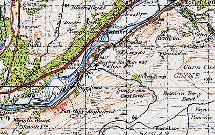 Old map of Banwen Torybetel in 1947