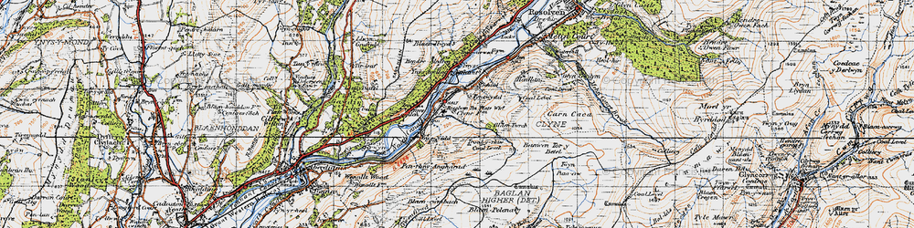 Old map of Ynys-dwfnant in 1947