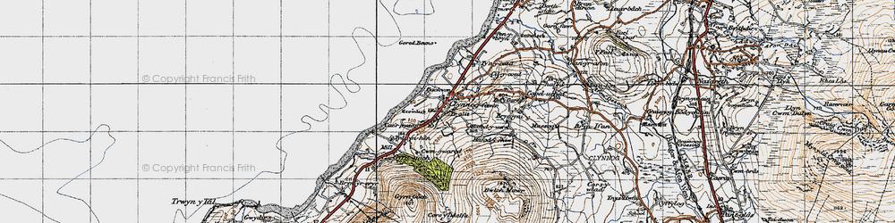 Old map of Clynnog-fawr in 1947