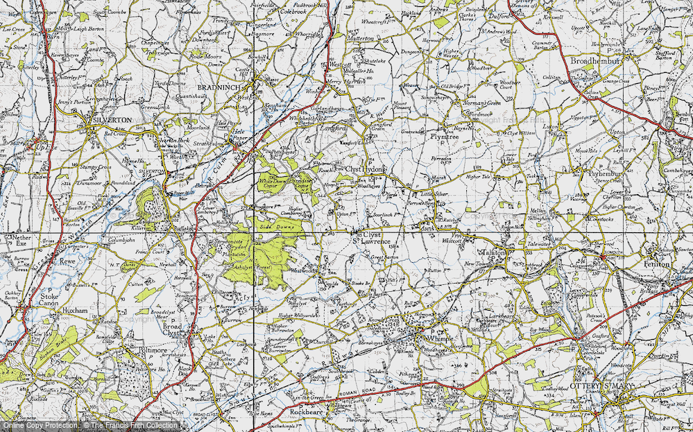 Old Map of Historic Map covering Woodhayes in 1946