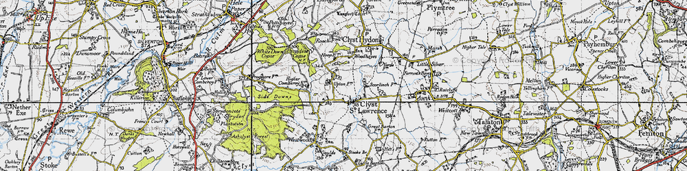 Old map of Woodhayes in 1946