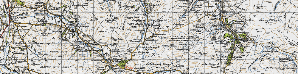 Old map of Allendale Common in 1947