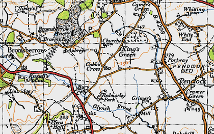 Old map of Cobb's Cross in 1947