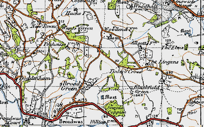 Old map of Tinkers' Cross in 1947