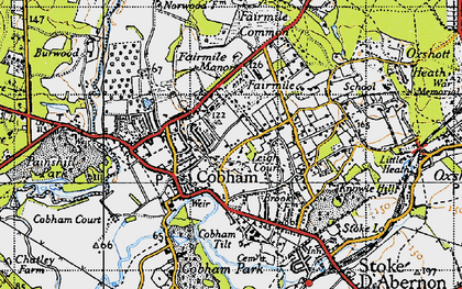 Old map of Cobham in 1945