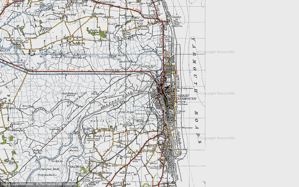 Old Map of Historic Map covering Acle Marshes in 1945
