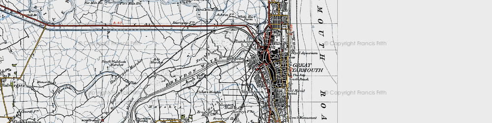 Old map of Acle Marshes in 1945