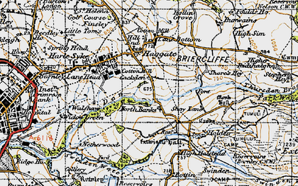Old map of Thursden Brook in 1947