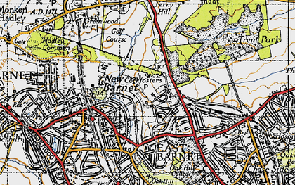 Old map of Cockfosters in 1946
