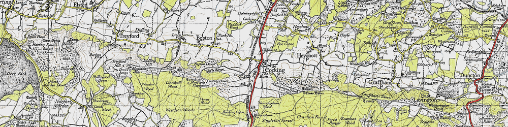 Old map of Cocking in 1945