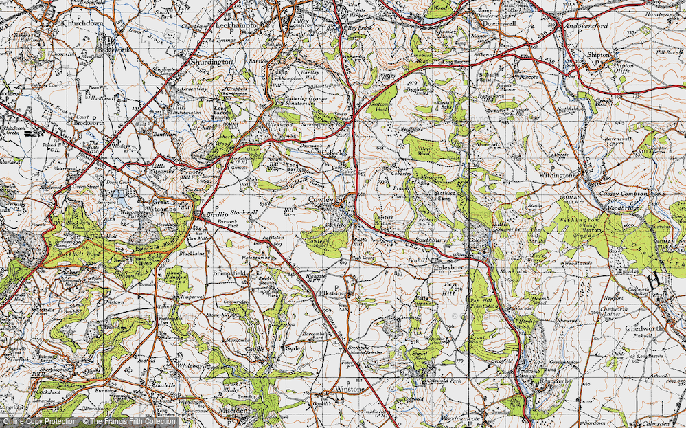 Old Map of Historic Map covering Tomtit's Bottom in 1946