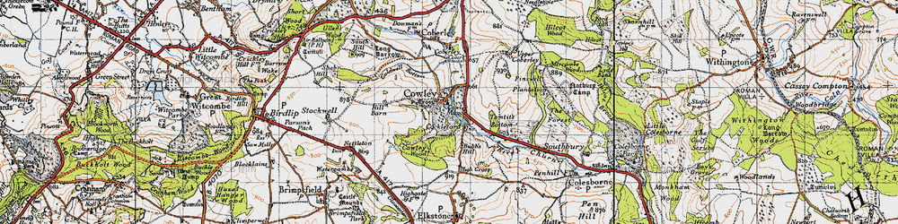 Old map of Tomtit's Bottom in 1946