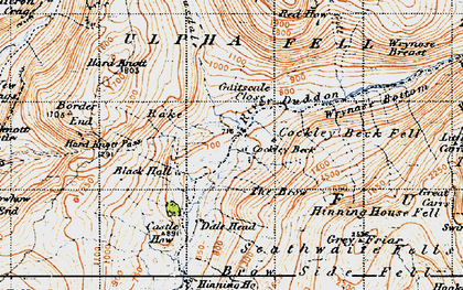 Old map of Wrynose Breast in 1947