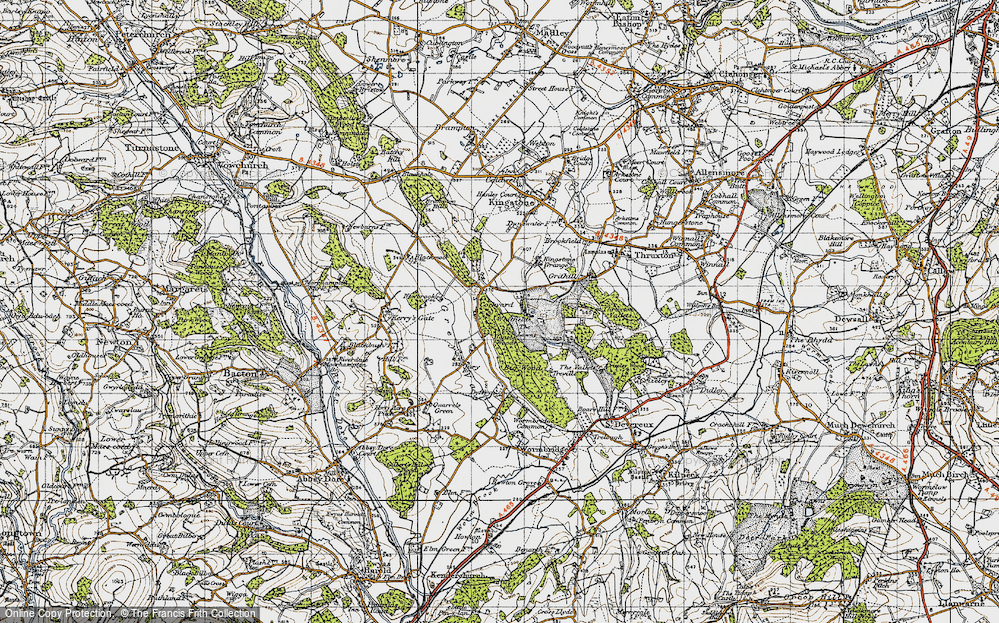 Old Map of Historic Map covering Banses Wood in 1947