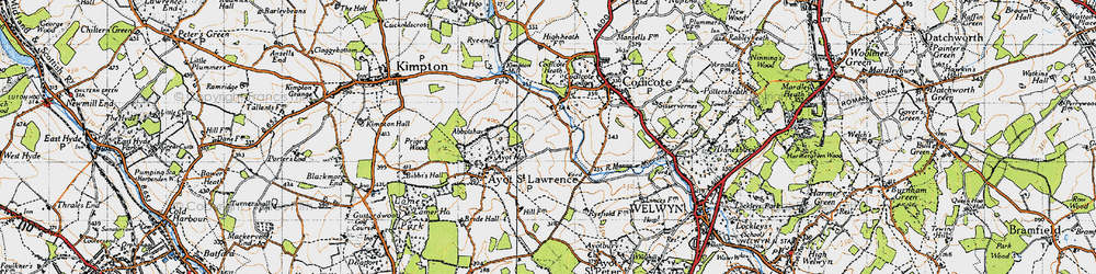 Old map of Abbotshay in 1946