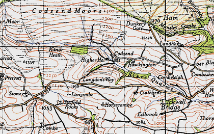 Old map of Ashcombe in 1946