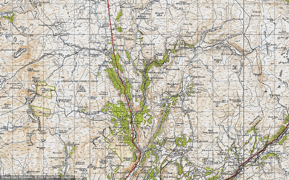 Old Map of Historic Map covering Afon Serw in 1947
