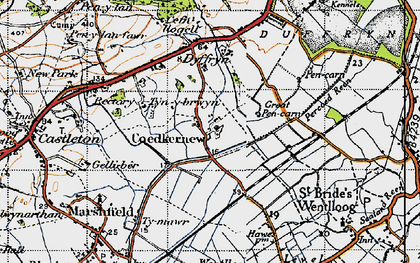 Old map of Coedkernew in 1947