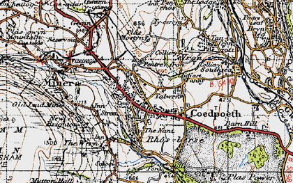 Old map of Coedpoeth in 1947